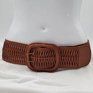 Steve Madden Wide Woven Leather Belt